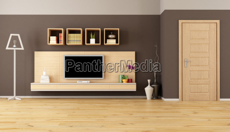 marron salon con tv led
