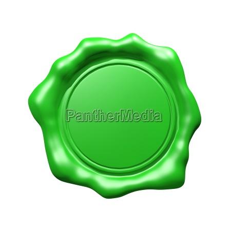 sello de cera verde aislado