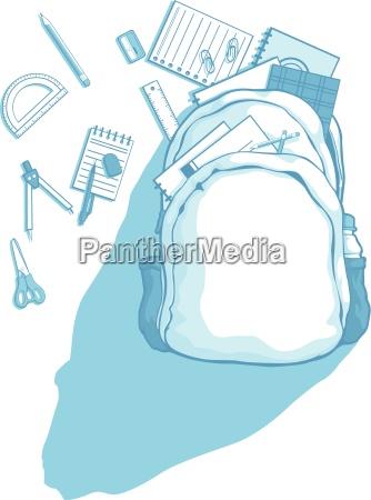 bolso de escuela con utiles escolares