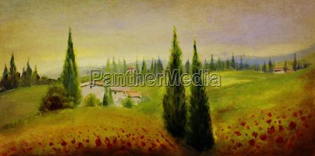 verano pintura de paisaje antiguo