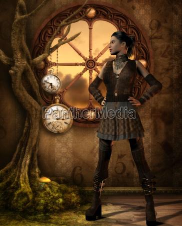 mujer sombrero reloj fantasia ilustracion traje
