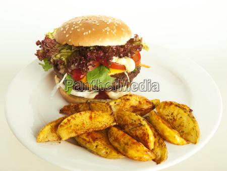 hamburguesa, con, patatas, fritas - 10055004