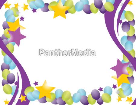 celebration balloon frame with stars isolated