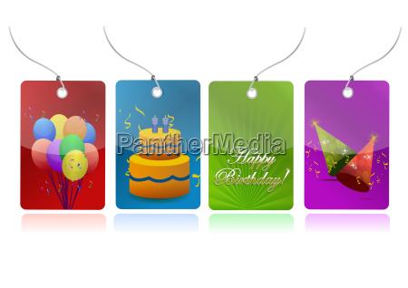 colorful birthday tags illustration design