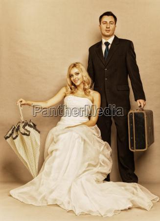 retro casado pareja novia novio vintage
