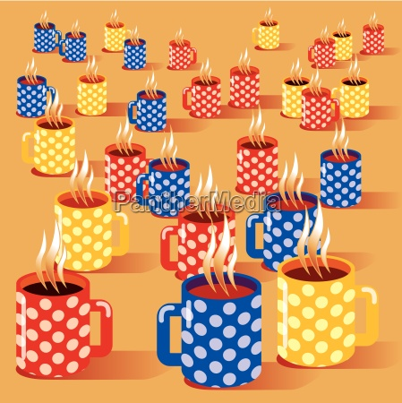many small cups and coffee break