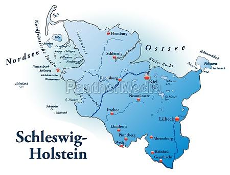mapa de schleswig holstein como un