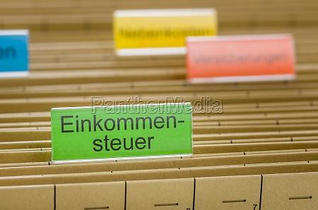 carpetas colgantes de impuestos etiquetado