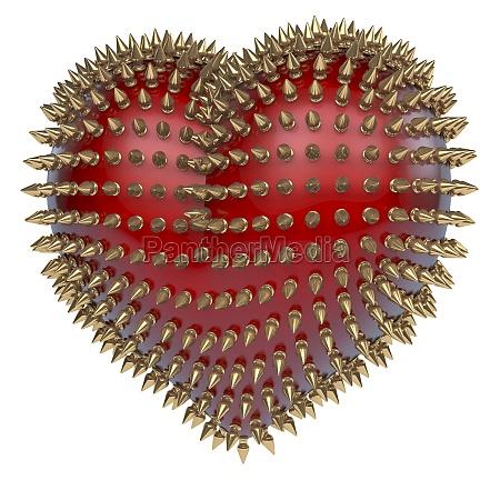 , corazón, brillante, rojo, con, puntas, de - 10758175
