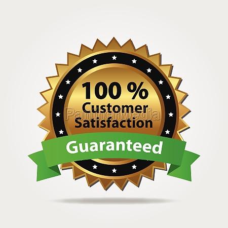 insignia de satisfaccion del cliente verde