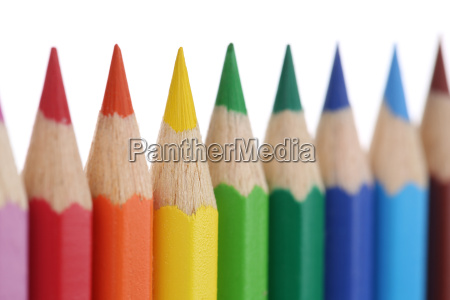 colored pencils isolated one after the