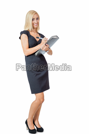 young successful businesswoman with briefcase folder