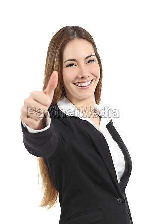 hermosa mujer de negocios feliz gesticulando