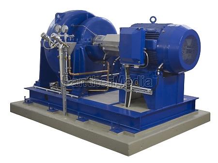 compresor industrial azul en blanco