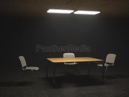 espacio celula investigacion interrogatorio silla pictograma
