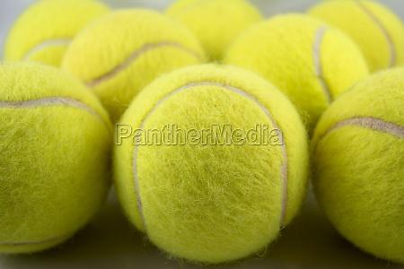 tennis balls formation close up