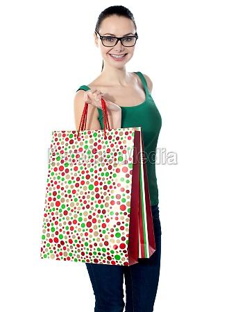 image of glamorous shopping girl holding