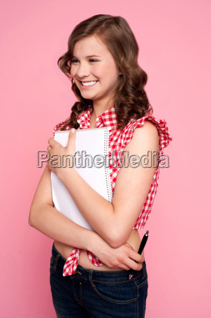 trendy young girl posing with spiral