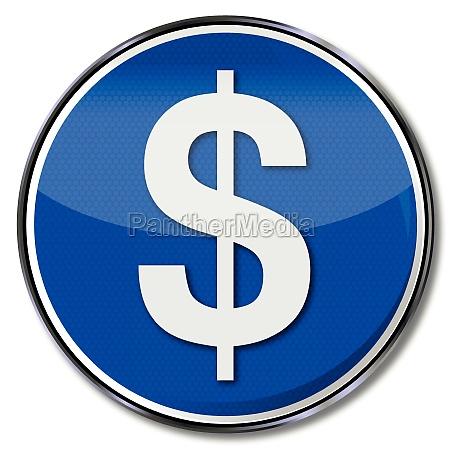 muestra azul del dolar