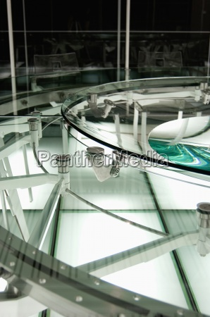 detail of modern glass conference table