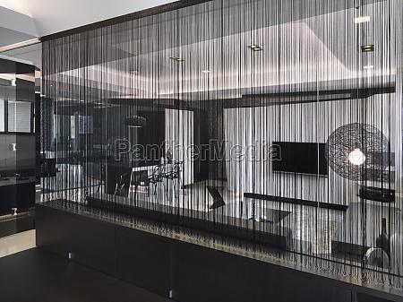 detail string curtain in modern interior
