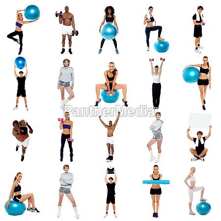 concepto de salud collage haga ejercicio