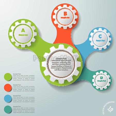 infografia blanco engranajes conectados abcd
