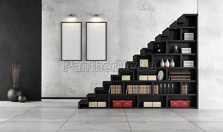 salon con escalera de madera y