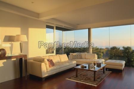 modern living room at sunset