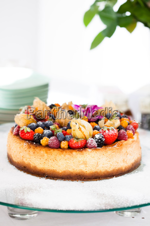 fruit cake on glass tray