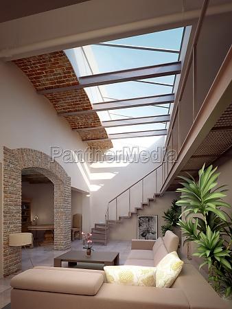 casa moderna con sala de estar