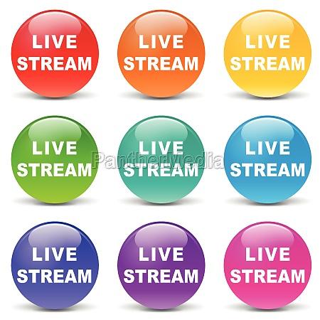 vector live stream set icons
