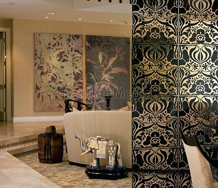interior design element separates dining area
