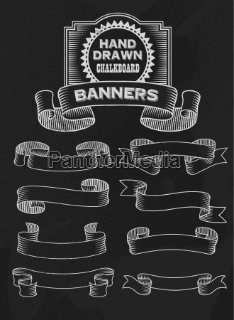 chalkboard vector banners and ribbons