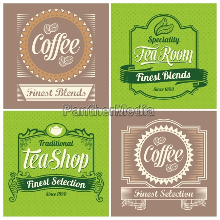 coffee and tea label and sign