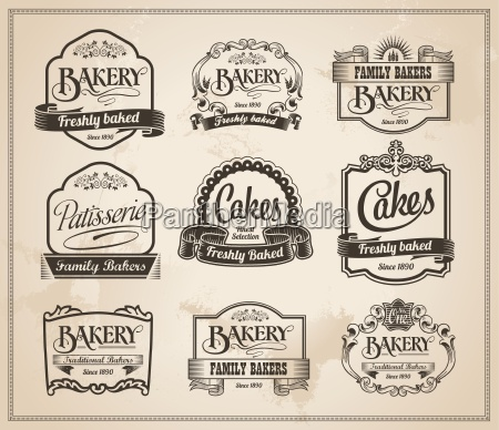 vintage retro bakery labels and sign