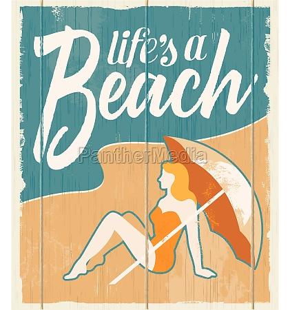 vintage cartel retro playa vector