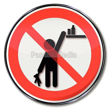 por favor verbotsschild productos de los