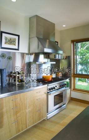 modern kitchen with stainless steel countertop