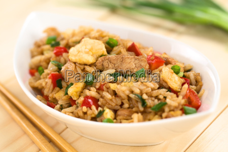 arroz frito con verduras pollo y