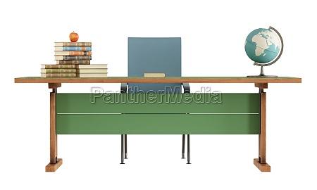 escritorio del profesor del retro en