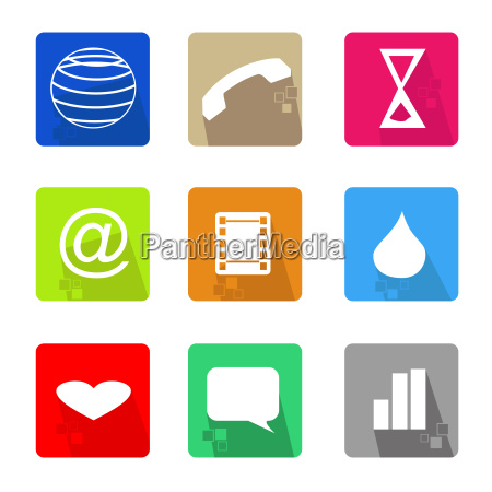 business icons set color with shadow