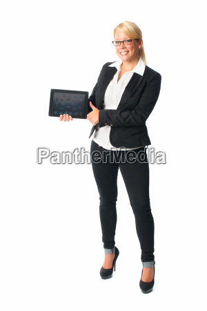 businesswoman holding a tablet pc