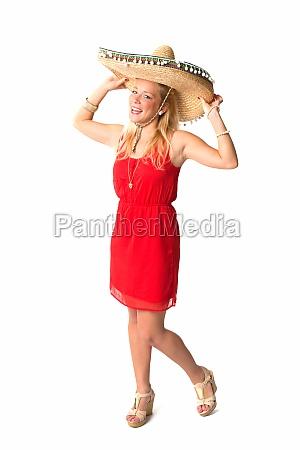 mujer joven con sombrero