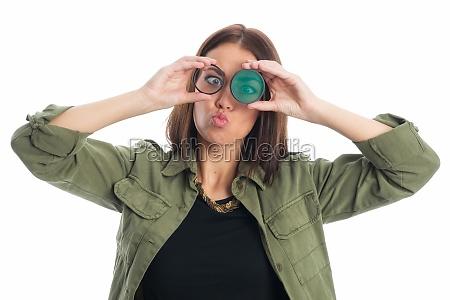 mujer gracioso filtro distancia focal