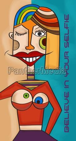 mujer risilla sonrisas arte dama pecho