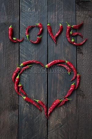 pimienta de chile rojo amor