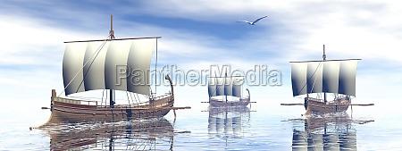 barcos antiguos griegos 3d rinden