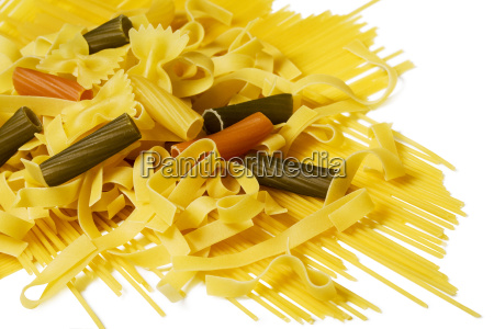 noodles different varieties isolated on white