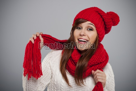 beautiful young woman wearing red hat